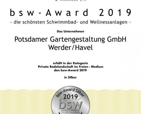 """Urkunde für """"Schwimmbad-Oscar"""", Auszeichnung des Bundesverbandes Schwimmbad und Wellness e.V."""