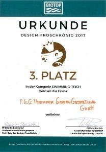 Urkunde Auszeichnung Design-Froschkönig